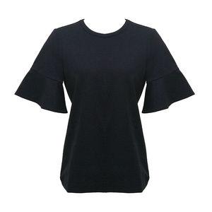 DRAPER JAMES ruffle ponte short sleeved shirt